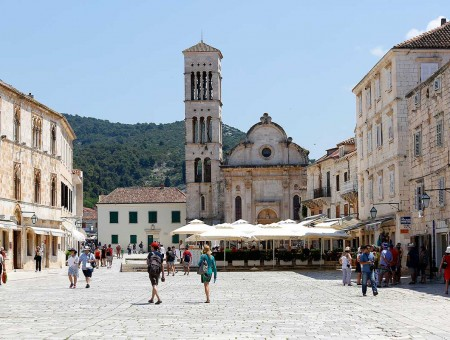 Cathedral of St. Stephen and St. Stephen Square in Hvar town