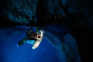 Inside the deep blue color of the Blue Cave