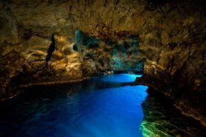 View of the empty Blue Cave, Bisevo, Vis, Croatia