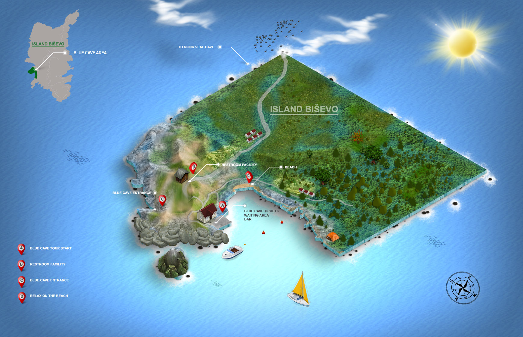 Infographic map of the Blue Cave area on Bisevo island