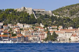 view of the Spanish fortress (Fortica) in Hvar